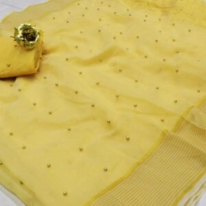 Dazzling Yellow Color Designer Tone To Tone Pearl Work Cotton Saree Blouse For Wedding Wear