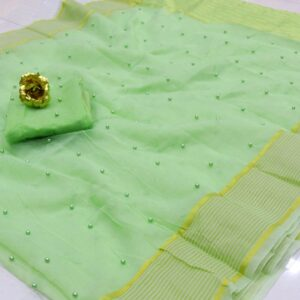 Refreshing Light Green Color Designer Festive Wear Cotton Kota Doriya Tone To Tone Pearl Work Saree Blouse For Ladies