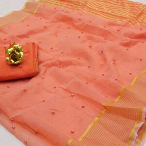 Good looking Peach Color Wedding Wear Pearl Tone To Tone Work Kota Doriya Cotton Fancy Saree Blouse
