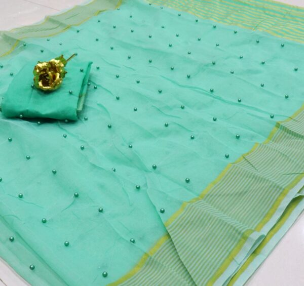 Mind blowing Light Blue Color Party Wear Cotton Pearl Tone To Tone Work Kota Doriya Saree Blouse For Ladies