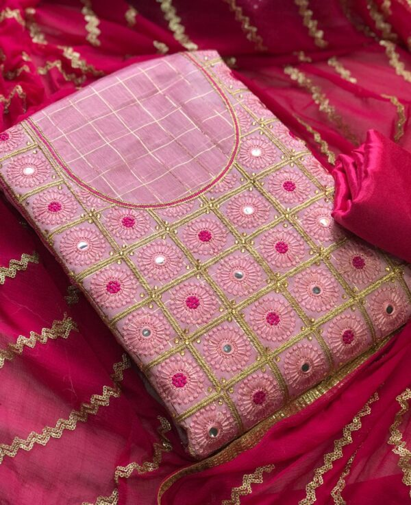 Eye catching Pink Color Designer Embroidered Work Modal Silk Chex Salwar Suit For Wedding Wear