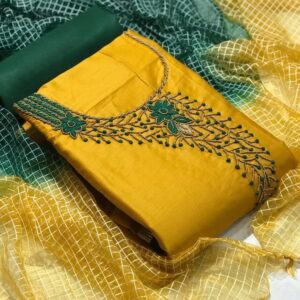 Gorgeous Yellow Color Party Wear Jam Cotton Designer Hand Work Salwar Suit For Ladies