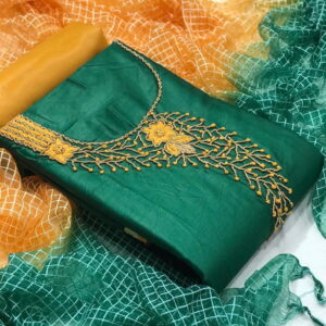 Stunning Dark Green Color Designer Hand Work Fancy Jam Cotton Salwar Suit For Festive Wear