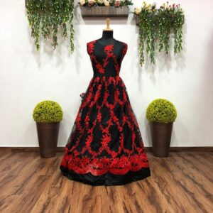 Sizzling Black Color Full Stitched Wedding Wear Soft Net Chain Stitch Work Designer Gown