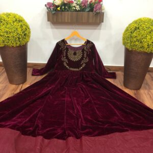 Exceptional partywear Maroon Color Full Stitched Velvet Embroidered Work Designer Gown For Ladies