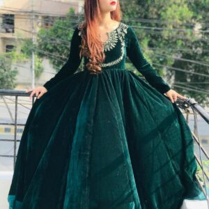 Partywear Rama Green Color Wedding Wear Embroidered Work Fancy Velvet Ready Made Gown