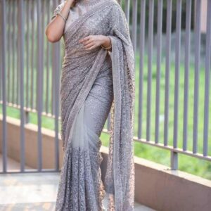 Stunning Grey Color Designer Soft Net Chain Stitch Stone Fancy Work Wedding Wear Saree Blouse