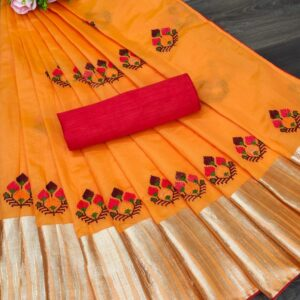 Trendy Orange Color Party Wear Embroidered Work Modal Silk Jacquard Border Saree Blouse