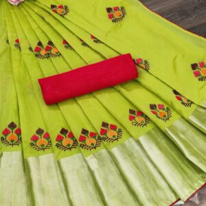 Entrance Light Green Color Wedding Wear Jacquard Fancy Embroidered Work Border Saree Blouse