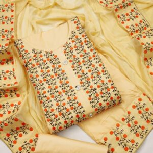Wonderful Cream Color Wedding Wear PC Cotton Designer Multi Work Salwar Suit For Ladies