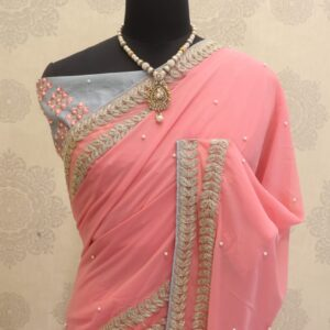 Dazzling Baby Pink Color Festive Wear Soft Georgette Embroidered Coding Work Lace Saree Blouse