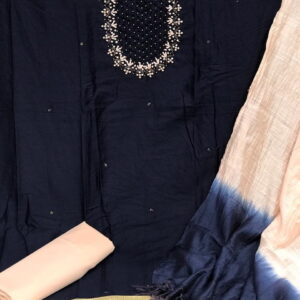 Amazing Navy Blue Color Party Wear Jam Cotton Designer Hand Work Salwar Suit For Ladies