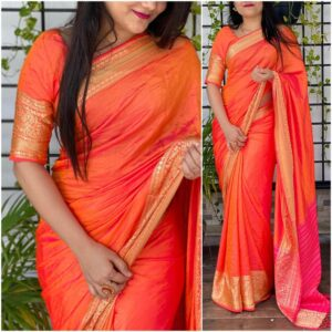 Unique Orange Color Designer Jacquard Sana Silk Beautiful Party Wear Saree Blouse