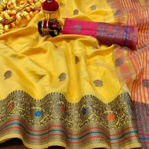 Sophisticated Yellow Color Designer Function Wear Lichi Silk Butta Work Weaving Border Saree Blouse