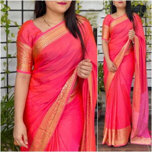 Fabulous Pink Color Wedding Wear Sana Silk Jacquard Border Designer Saree Blouse For Ladies