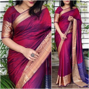 Gorgeous Wine Color Party Wear Sana Silk Jacquard Border Saree Blouse For Function Wear