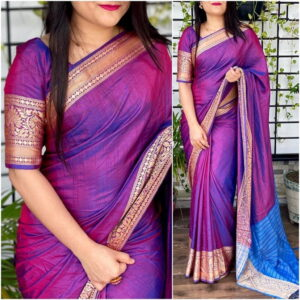 Dazzling Violet Color Fancy Jacquard Border Sana Silk Beautiful Function Wear Saree Blouse