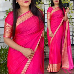 Classy Rani Pink Color Party Wear Sana Silk Designer Jacquard Border Saree Blouse For Ladies