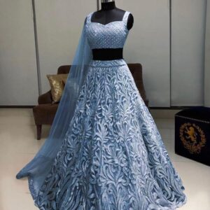 Opulent Grey Color Designer Soft Net Fancy Chain Stitch Work Lehenga Choli For Wedding Wear