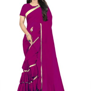 Function Magenta Color Party Wear Soft Georgette Ruffle Border Saree Blouse