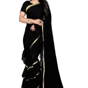 Marvelous Black Color Fancy Georgette Beautiful Freel Pattern Border Saree Blouse For Casual Wear