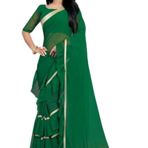 Admiring partywear Dark Green Freel Border Designer Georgette Saree Blouse For Ladies