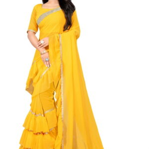 Party Yellow Color Festive Wear Soft Georgette Ruffle Border Fancy Saree Blouse