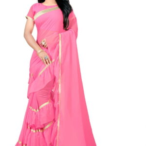 Opulent Pink Color Designer Soft Georgette Ruffle Border Saree Blouse For Function Wear