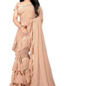 Light Cream Color Ruffle Border Soft Georgette Party Wear Saree Blouse For Ladies