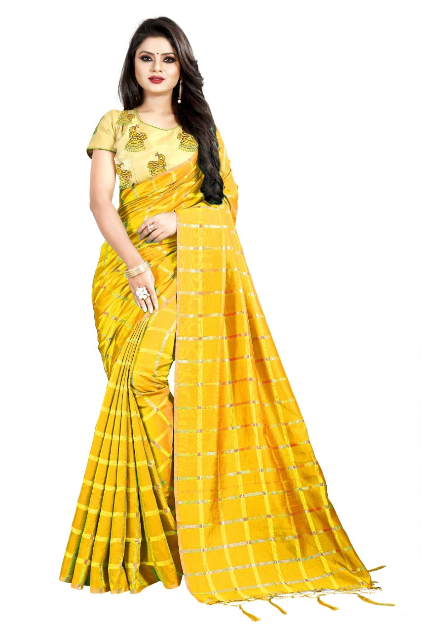 Beautiful Yellow Color Wedding Wear Sana Silk Designer Embroidered Work Saree Blouse