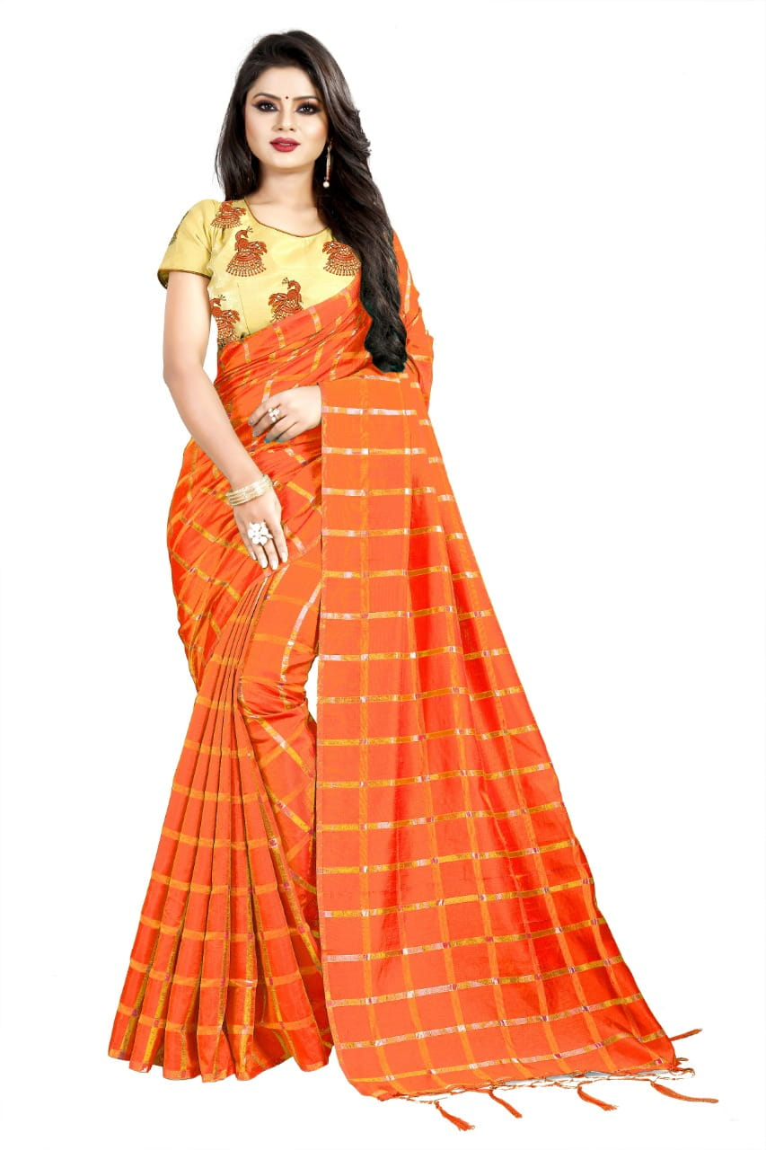Pretty Orange Color Sana Silk Embroidered Work Designer Wedding Wear Saree Blouse
