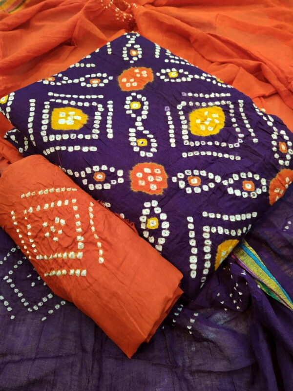 Eye catching Violet Color Bandhej Cotton Hand Dying Printed Salwar Suit For Party Wear