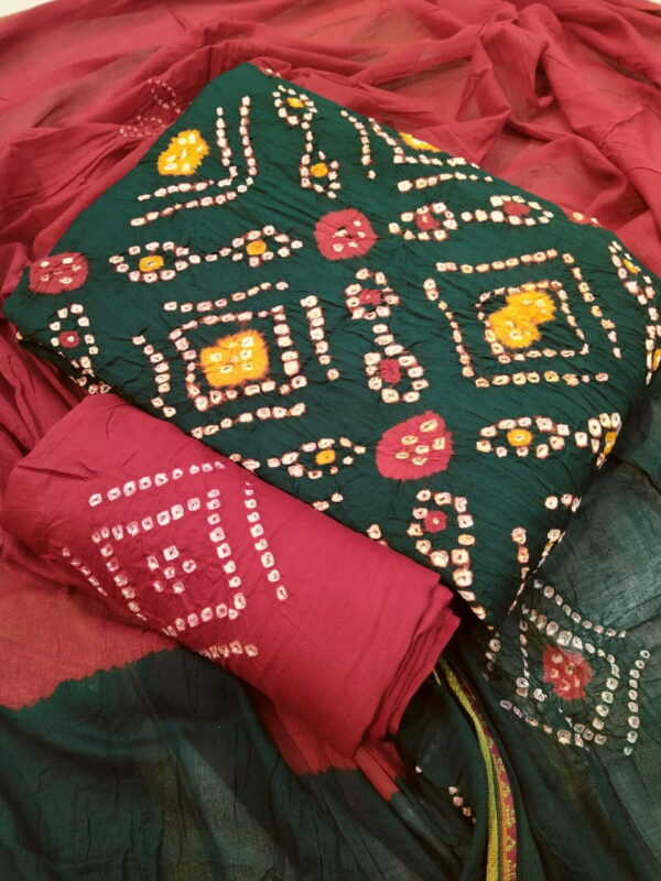 Trendy Rama Green Color Beautiful Cotton Hand Dying Printed Cotton Salwar Suit For Casual Wear