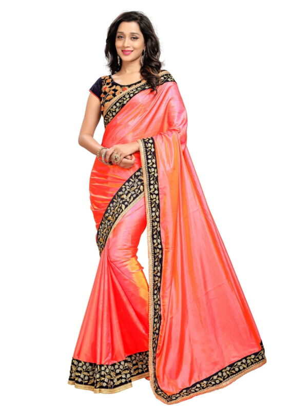 Unique Pink Color Designer Paper Silk Fancy Embroidered Work Saree Blouse For Party Wear