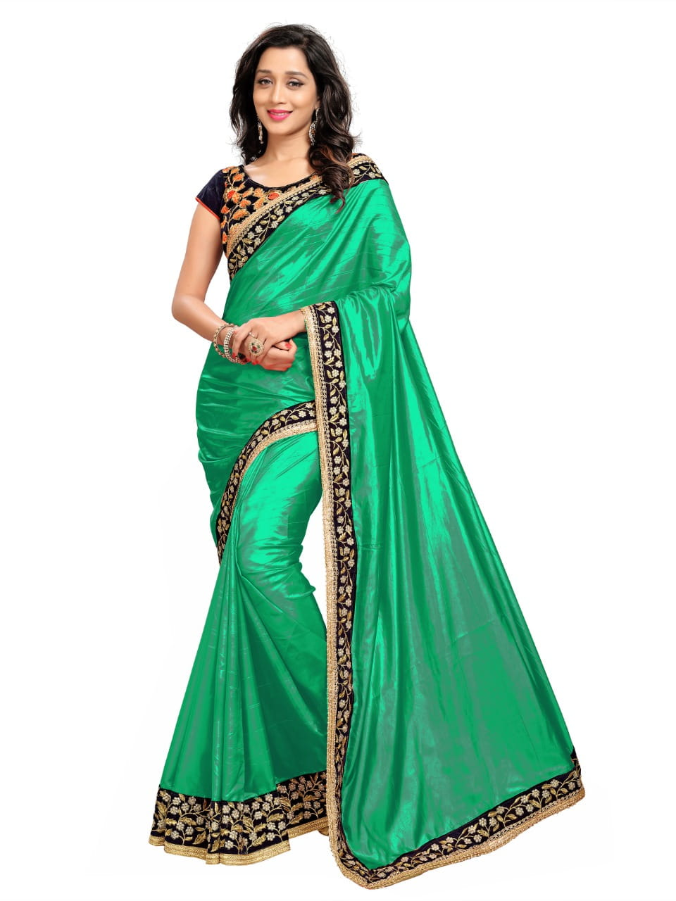 Glourious Rama Green Color Wedding Wear Paper Silk Designer Embroidered Work Saree Blouse For Ladies