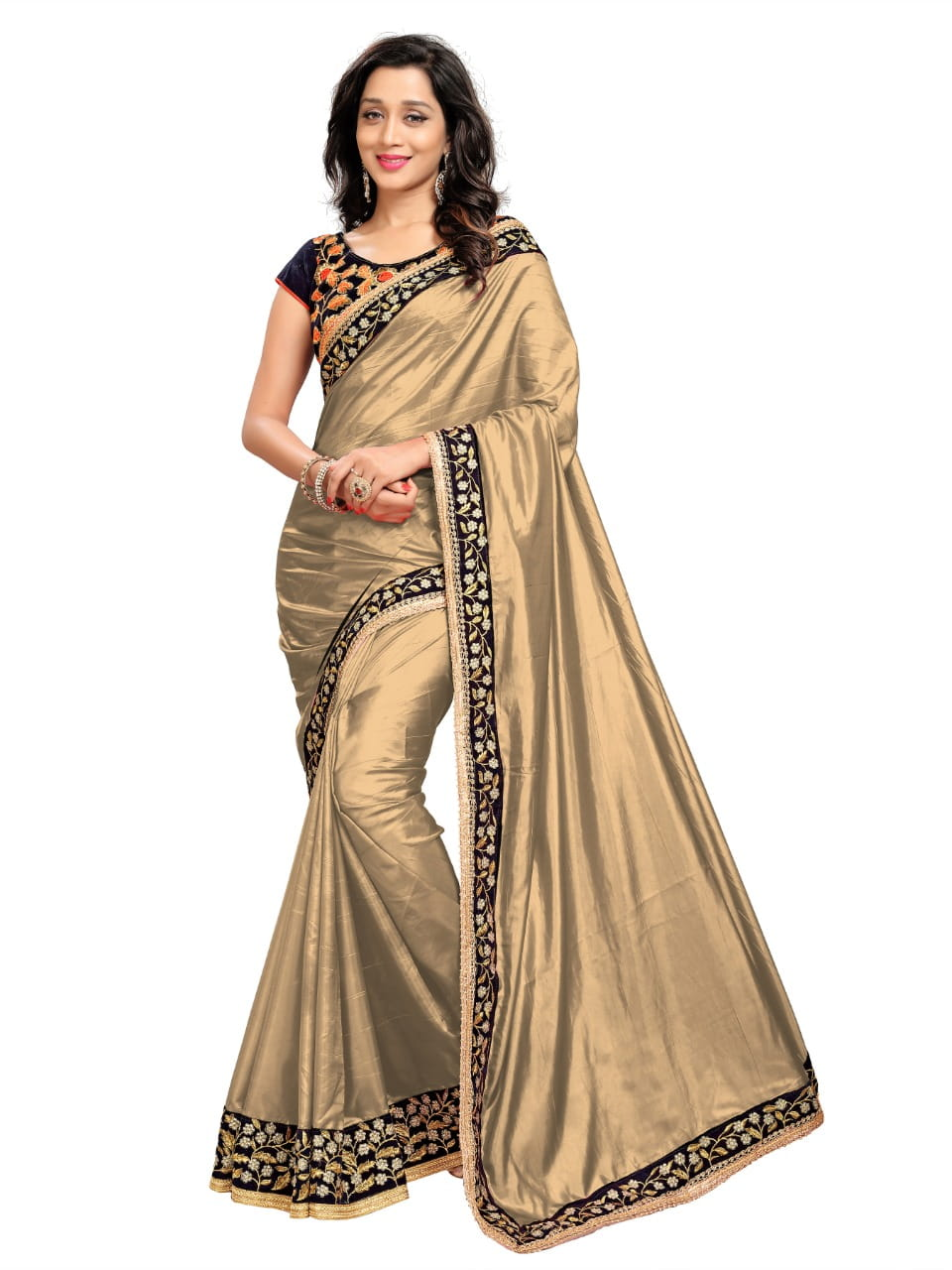 Preferable Golden Color Festive Wear Embroidered Work Designer Paper Silk Fancy Saree Blouse