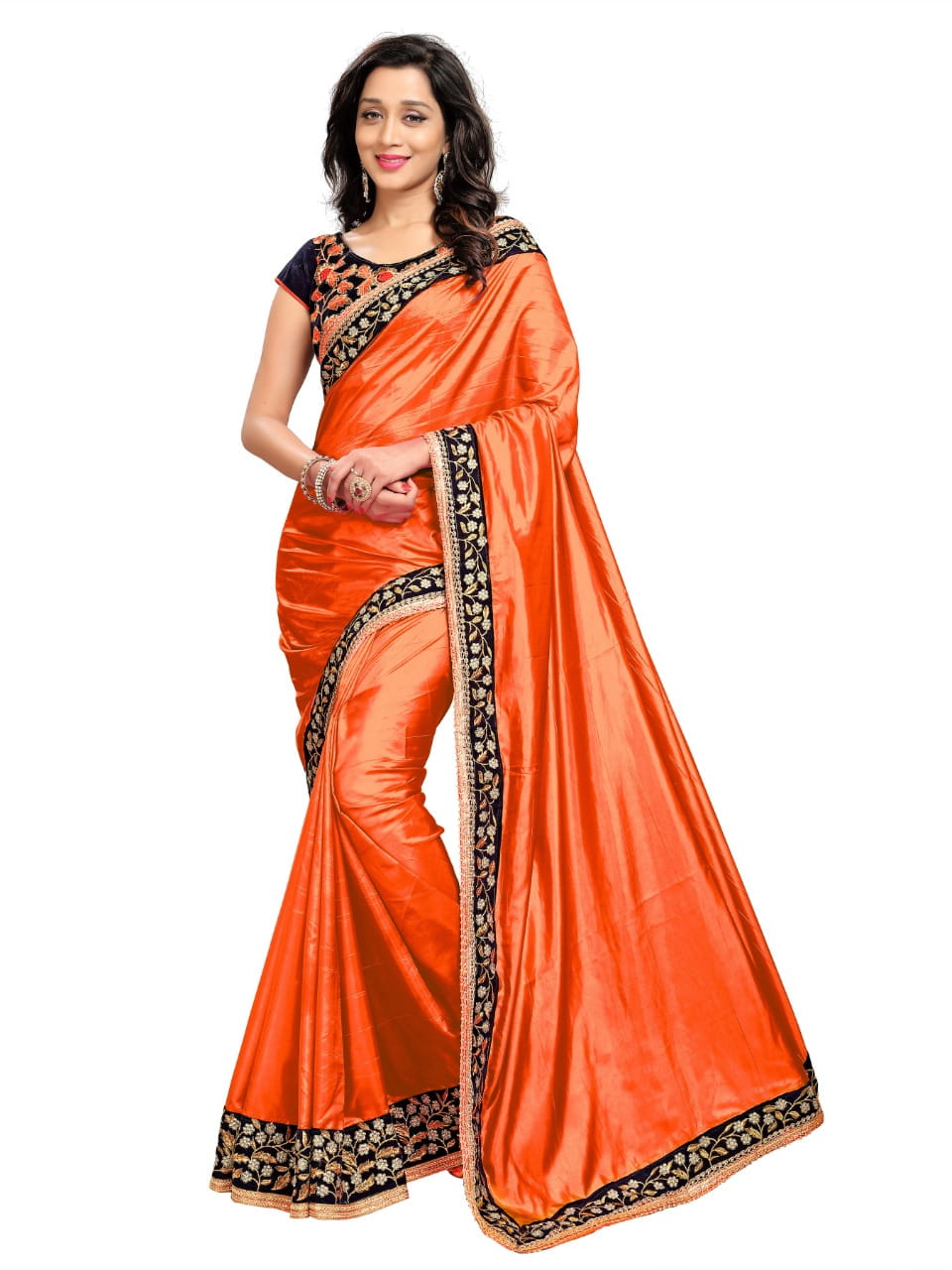 Ever green Orange Color Fancy Paper Silk Embroidered Work Function Wear Saree Blouse