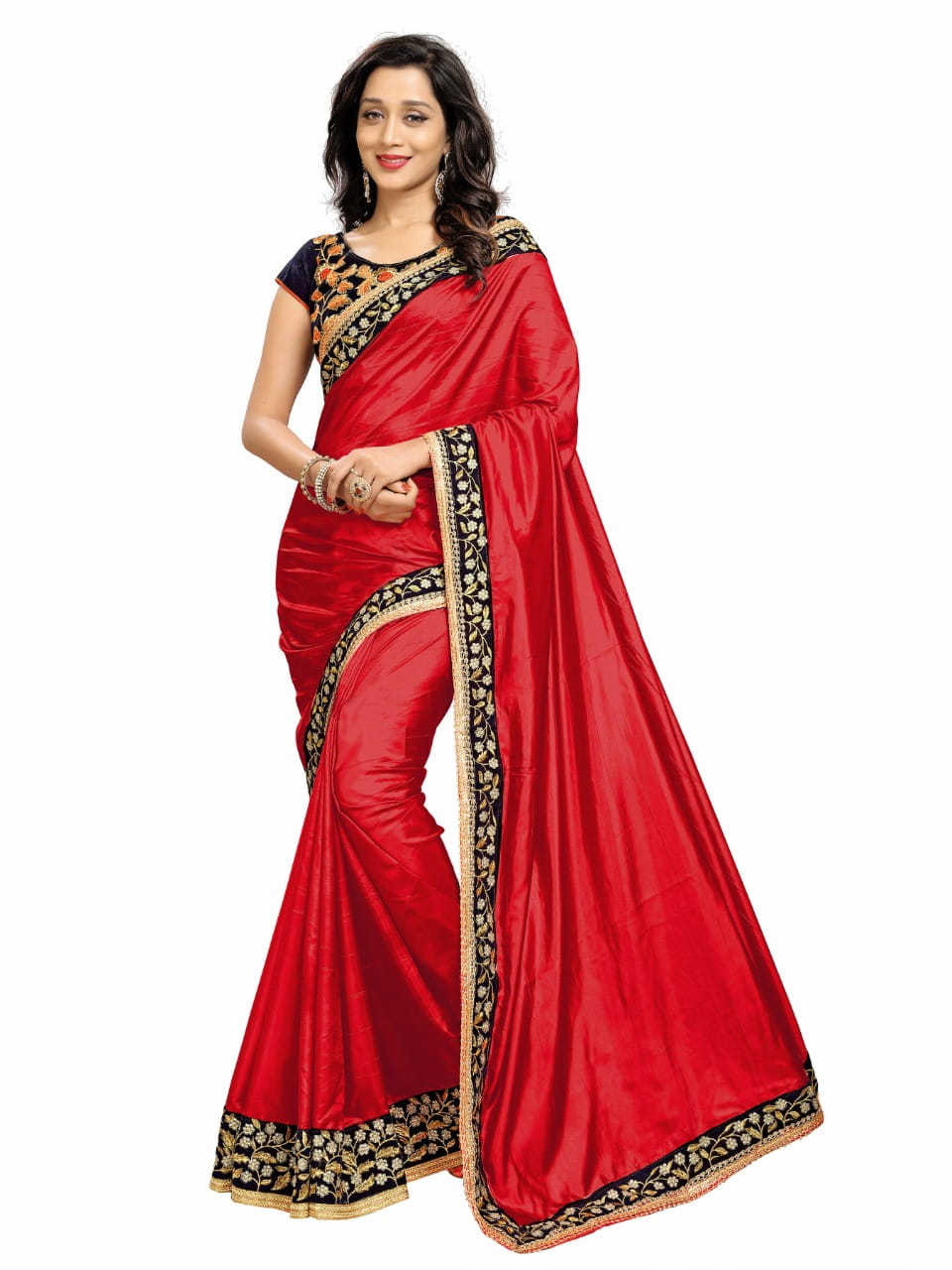 Gorgeous Red Color Designer Embroidered Work Fancy Paper Silk Saree Blouse For Wedding Wear