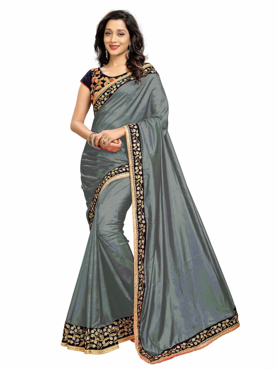 Dazzling Grey Color Fancy Paper Silk Embroidered Work Beautiful Party Wear Saree Blouse