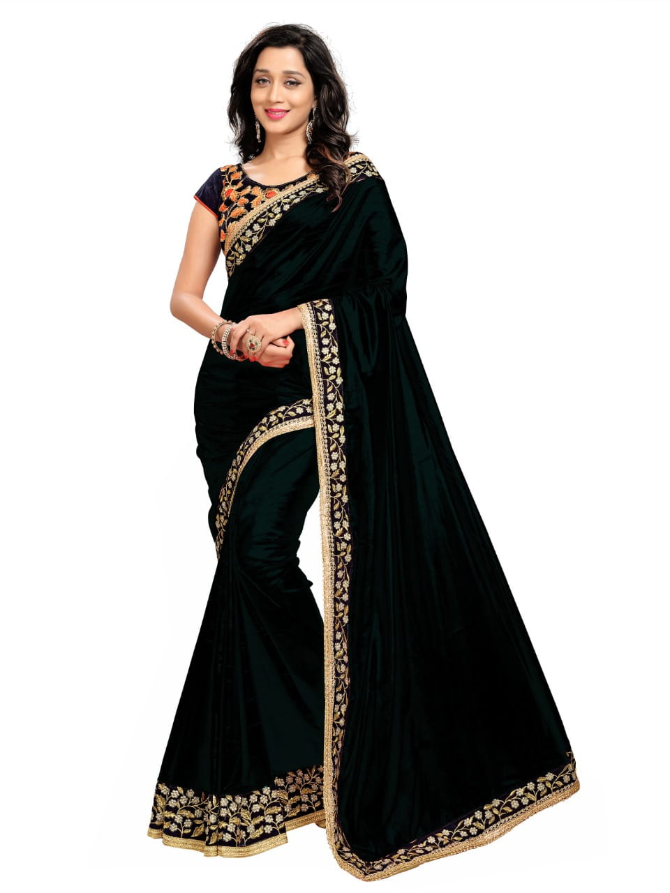 Adorable Black Color Function Wear Embroidered Work Paper Silk Designer Saree Blouse For Ladies
