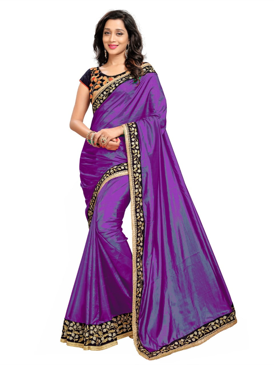 Radiant Violet Color Party Wear Paper Silk Fancy Embroidered Work Saree Blouse