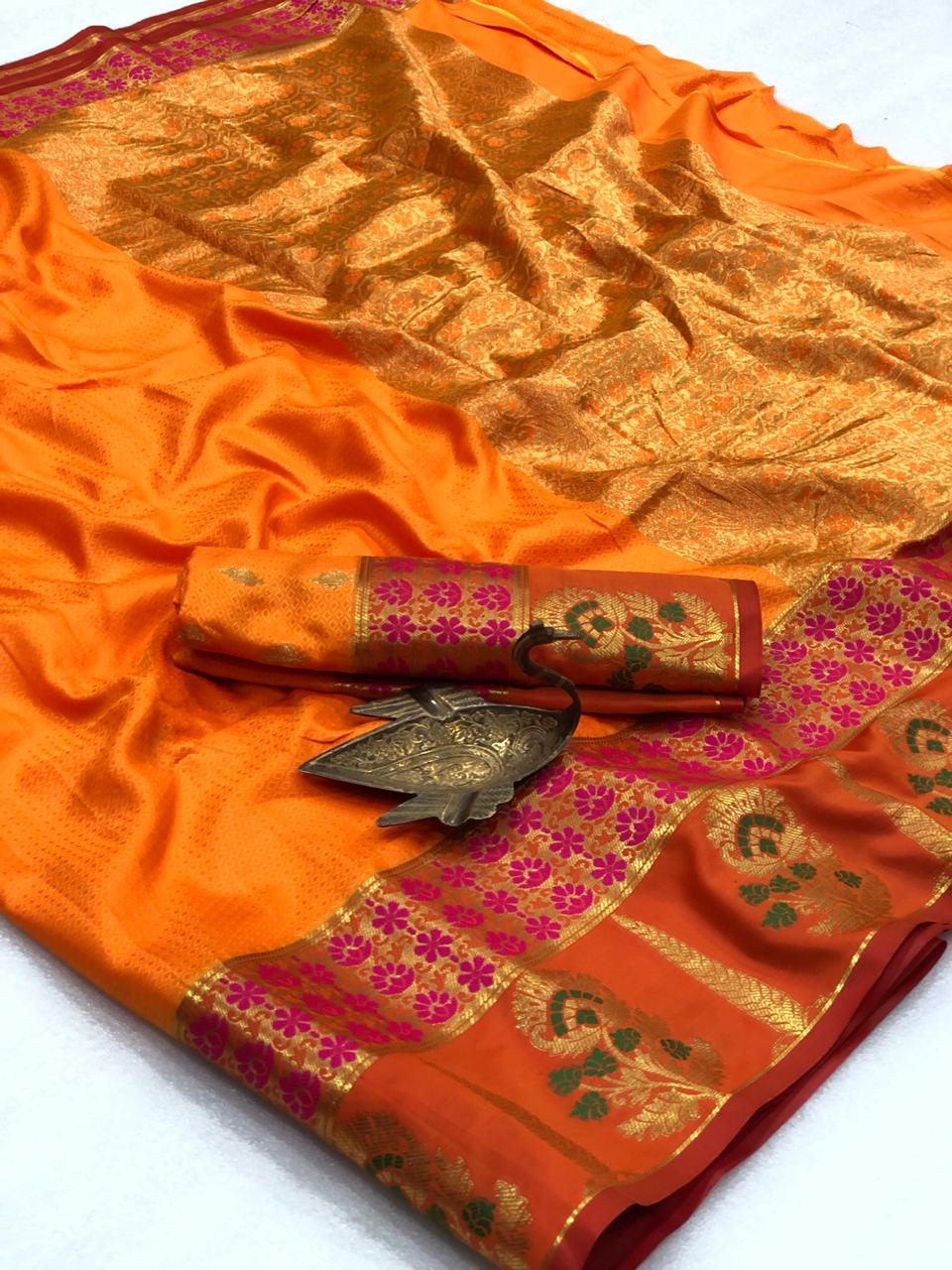 Gorgeous Orange Color Party Wear Silk All Over Weaving Two Tone Rich Pallu Saree Blouse For Ladies
