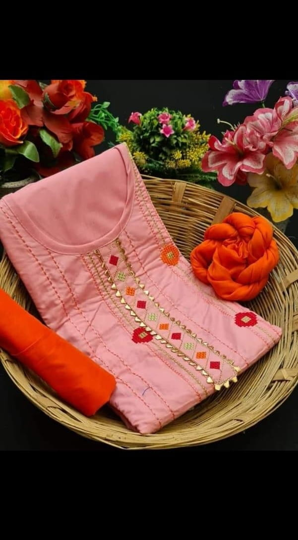 Admiring Baby Pink Color Designer Glaze Cotton Fancy Work Salwar Suit For Party Wear