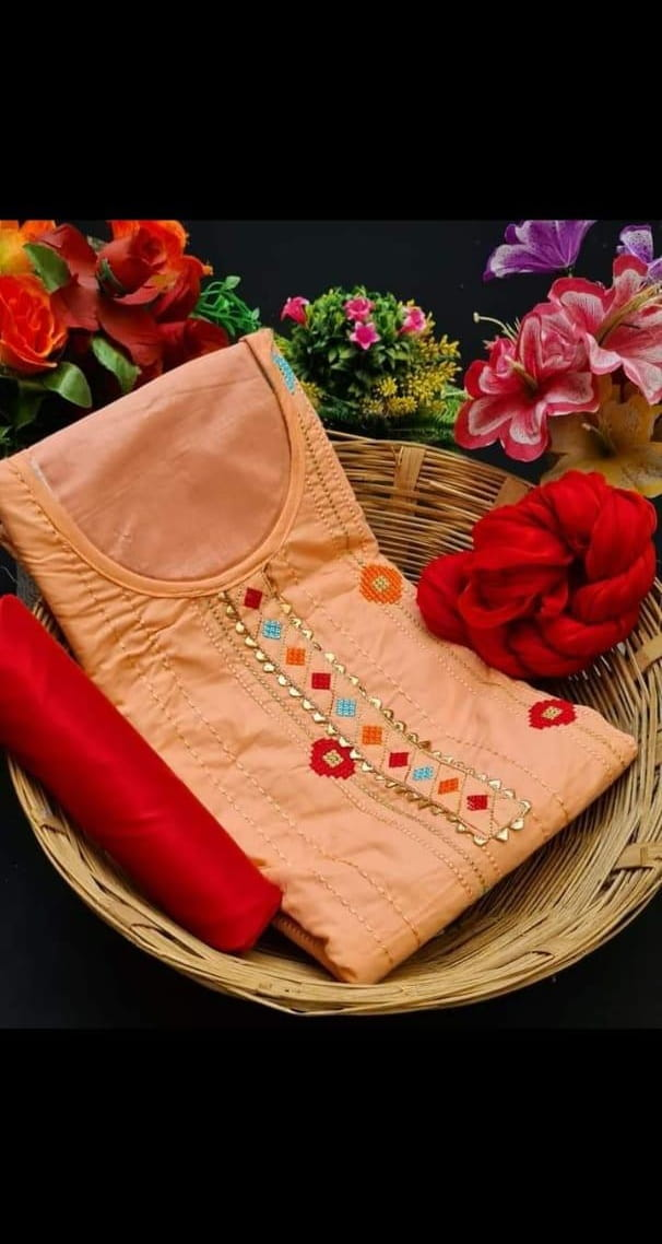 Stunning Peach Color Beautiful Glaze Cotton Fancy Work Party Wear Salwar Suit
