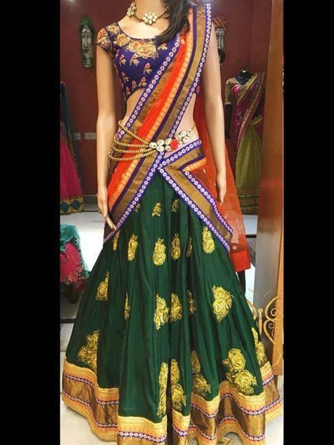 Dazzling Dark Green Color Diamond Embroidered Work Fancy Silk Lehenga Choli For Wedding Wear
