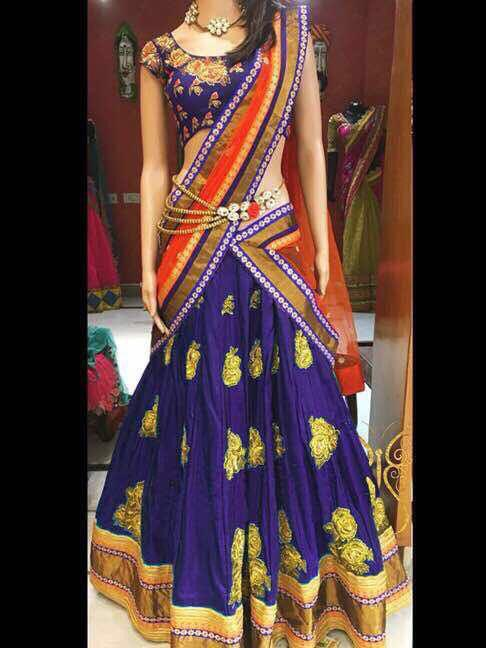 Designer Violet Color Function Wear Silk Embroidered Diamond Work Lehenga Choli For Ladies