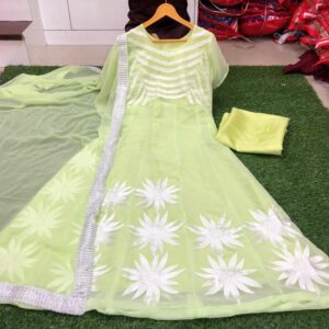 Surpassing Light Green Color Wedding Wear Soft Georgette Chain Stitch Work Salwar Suit For Ladies