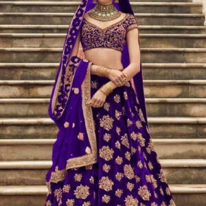 Opulent Purple Color Designer Wedding Wear Tapeta Silk Embroidered Work Lehenga Choli
