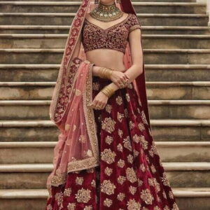 Exceptional Maroon Color Function Wear Embroidered Work Designer Tapeta Silk Lehenga Choli