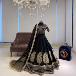 Sizzling Black Color Designer Silk Diamond Embroidered Work Wedding Wear Lehenga Choli